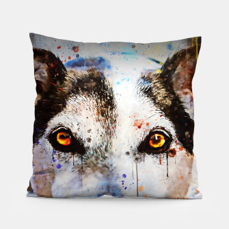 Thumbnail image of lying dog close-up view wsstd Pillow, Live Heroes