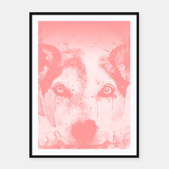 Thumbnail image of lying dog close-up view wspw Framed poster, Live Heroes