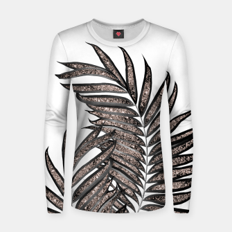 Thumbnail image of Gray Black Palm Leaves with Rose Gold Glitter #3 #tropical #decor #art  Frauen sweatshirt, Live Heroes