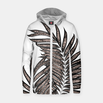 Thumbnail image of Gray Black Palm Leaves with Rose Gold Glitter #3 #tropical #decor #art  Reißverschluss kapuzenpullover, Live Heroes