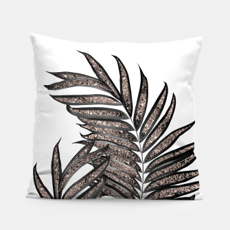 Thumbnail image of Gray Black Palm Leaves with Rose Gold Glitter #3 #tropical #decor #art  Kissen, Live Heroes