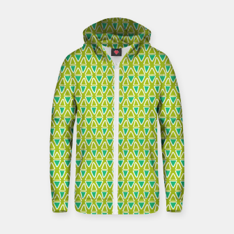 Thumbnail image of Doodle Triangles - Green/Blue Zip up hoodie, Live Heroes
