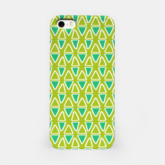 Doodle Triangles - Green/Blue iPhone Case thumbnail image