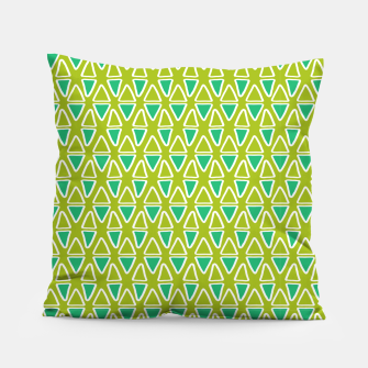 Doodle Triangles - Green/Blue Pillow thumbnail image