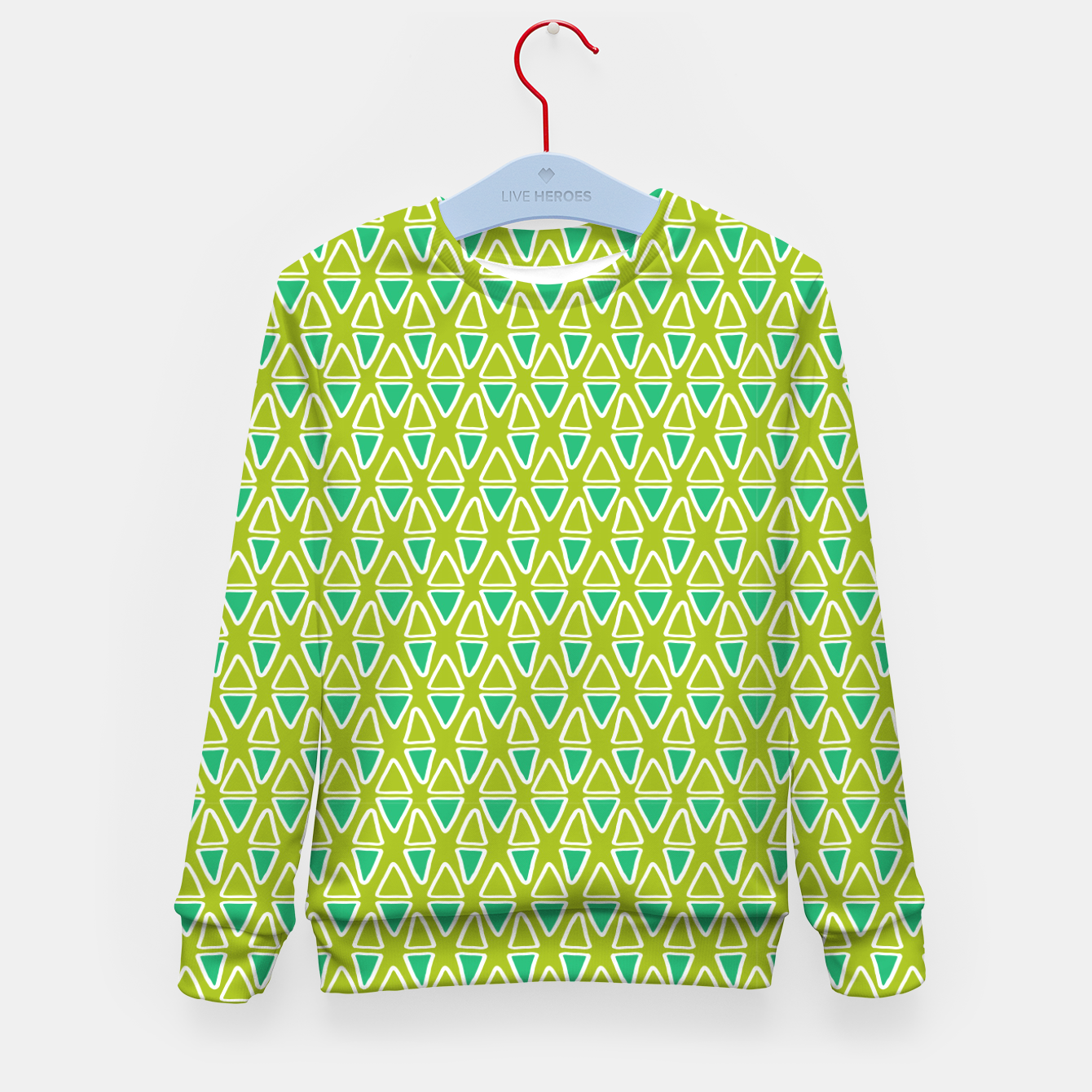 Image of Doodle Triangles - Green/Blue Kid's sweater - Live Heroes