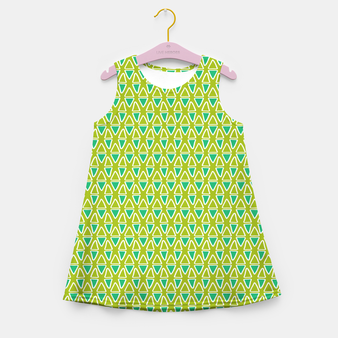 Image of Doodle Triangles - Green/Blue Girl's summer dress - Live Heroes