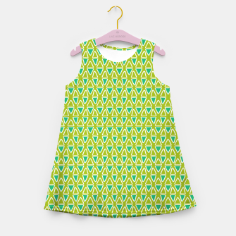 Thumbnail image of Doodle Triangles - Green/Blue Girl's summer dress, Live Heroes