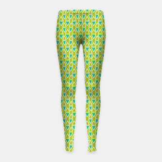 Thumbnail image of Doodle Triangles - Green/Blue Girl's leggings, Live Heroes
