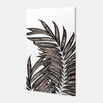 Thumbnail image of Gray Black Palm Leaves with Rose Gold Glitter #3 #tropical #decor #art  Canvas, Live Heroes