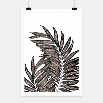 Thumbnail image of Gray Black Palm Leaves with Rose Gold Glitter #3 #tropical #decor #art  Plakat, Live Heroes