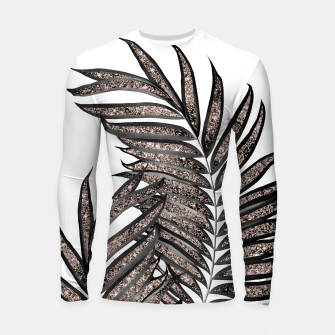 Thumbnail image of Gray Black Palm Leaves with Rose Gold Glitter #3 #tropical #decor #art  Longsleeve rashguard, Live Heroes
