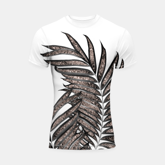 Thumbnail image of Gray Black Palm Leaves with Rose Gold Glitter #3 #tropical #decor #art  Shortsleeve rashguard, Live Heroes
