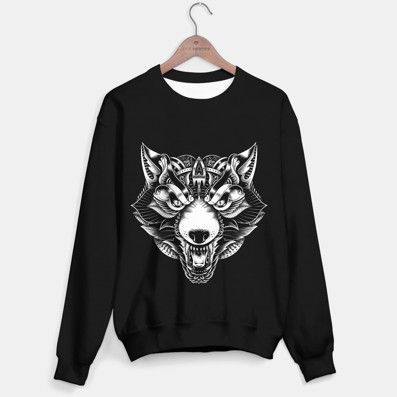 Image of Angry Wolf Ornate Sweater regular - Live Heroes