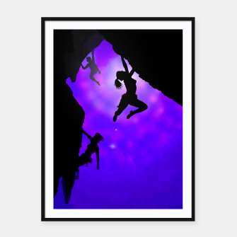 Thumbnail image of moonlit climbers framed poster, Live Heroes