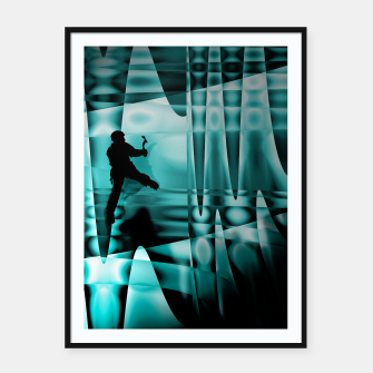 Thumbnail image of climbing the frozen waterfall framed poster, Live Heroes