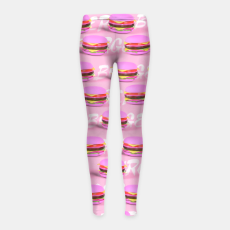 Thumbnail image of Pink Burgers Girl's leggings, Live Heroes