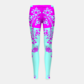 Thumbnail image of floral ornaments pattern voip90 Girl's leggings, Live Heroes