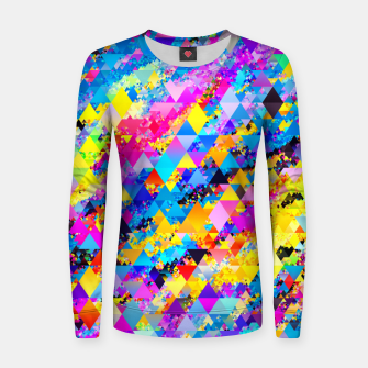 Colorful Triangles Pattern Women sweater obraz miniatury