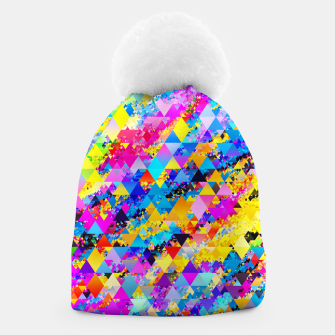Colorful Triangles Pattern Beanie obraz miniatury