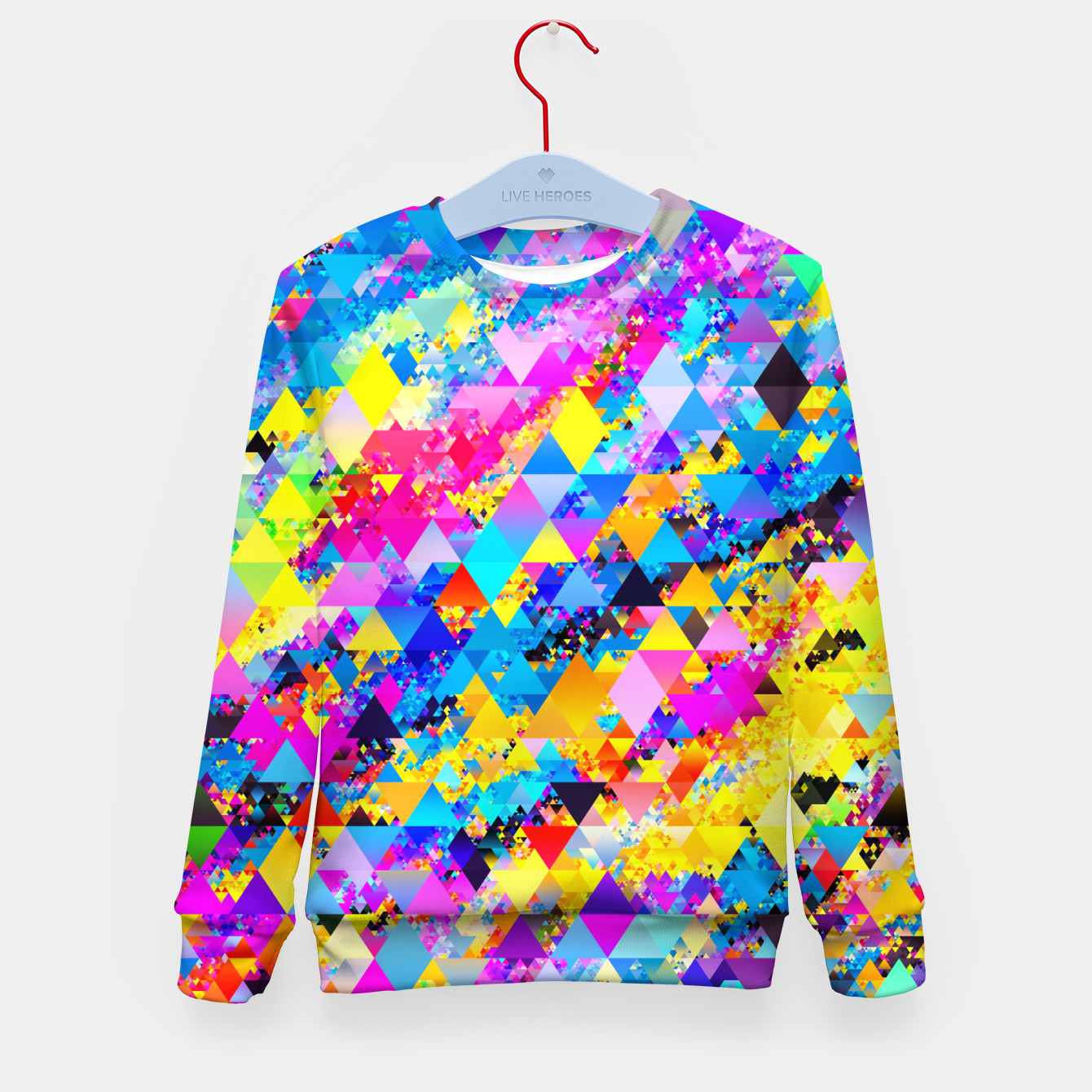 Zdjęcie Colorful Triangles Pattern Kid's sweater - Live Heroes