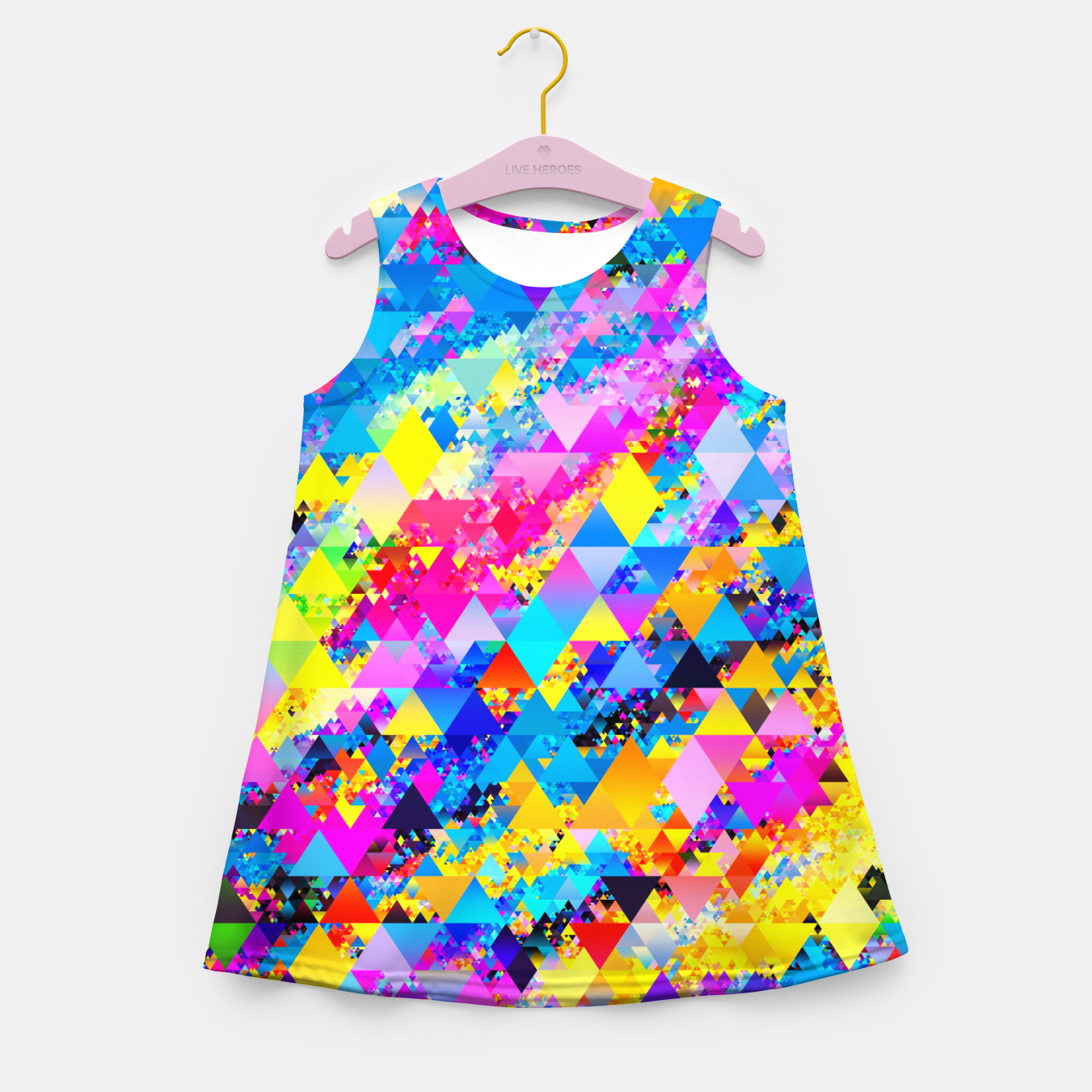 Zdjęcie Colorful Triangles Pattern Girl's summer dress - Live Heroes