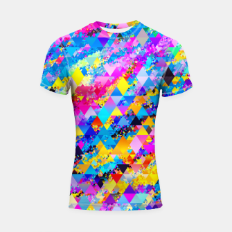 Colorful Triangles Pattern Shortsleeve rashguard obraz miniatury