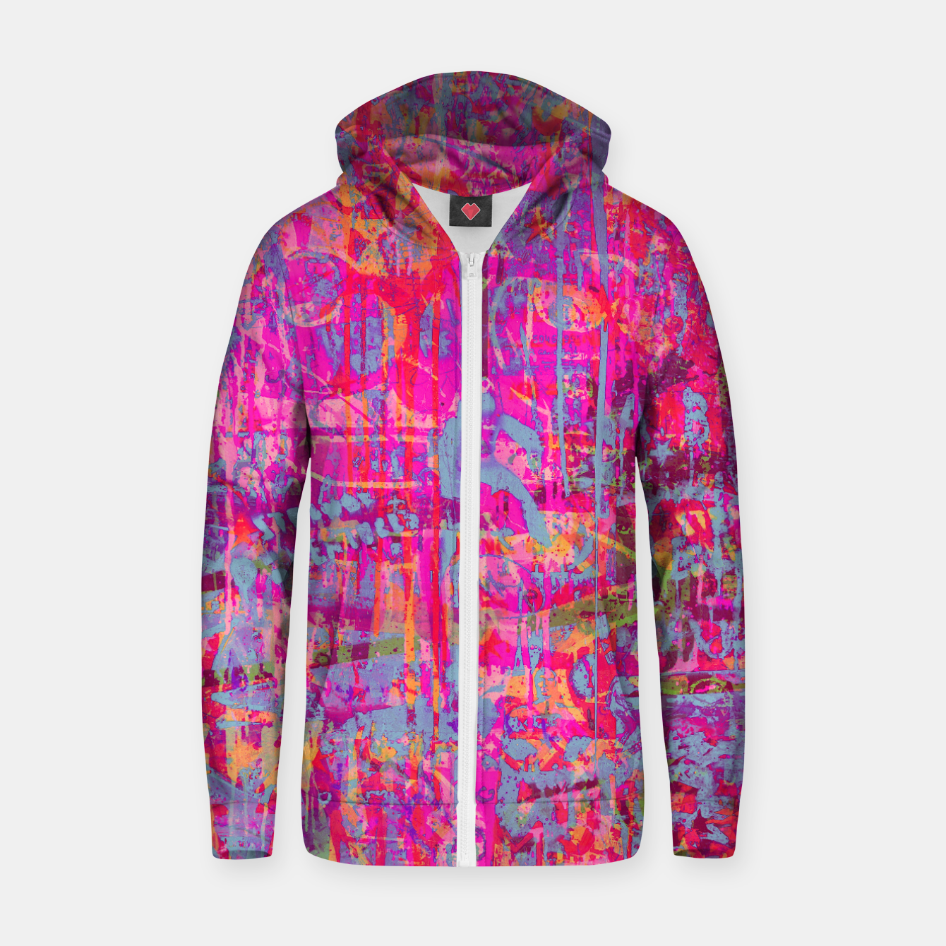 Image of Pink Graffiti Zip up hoodie - Live Heroes
