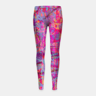 Pink Graffiti Girl's leggings obraz miniatury