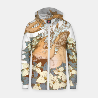 Thumbnail image of Deer Flower Zip up hoodie, Live Heroes