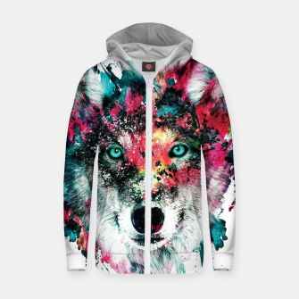 Thumbnail image of Strange Wolf Zip up hoodie, Live Heroes