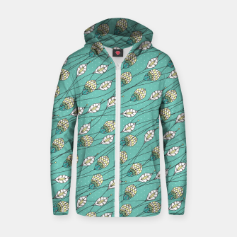 Thumbnail image of Windy buds | Teal And Yellow Floral Pattern Design Zip up hoodie, Live Heroes