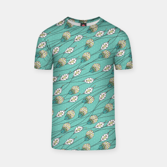Thumbnail image of Windy buds | Teal And Yellow Floral Pattern Design T-shirt, Live Heroes