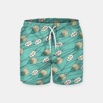 Thumbnail image of Windy buds | Teal And Yellow Floral Pattern Design Swim Shorts, Live Heroes