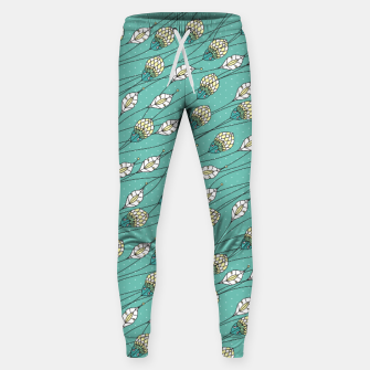 Thumbnail image of Windy buds | Teal And Yellow Floral Pattern Design Sweatpants, Live Heroes