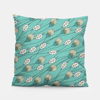 Thumbnail image of Windy buds | Teal And Yellow Floral Pattern Design Pillow, Live Heroes