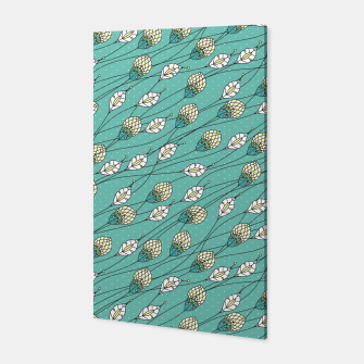 Thumbnail image of Windy buds | Teal And Yellow Floral Pattern Design Canvas, Live Heroes