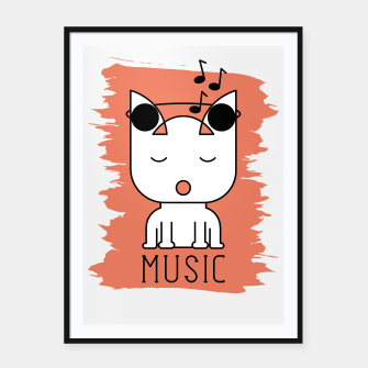 Thumbnail image of Cat Music Mode | Cute White Cat Icon With Headphones Framed poster, Live Heroes