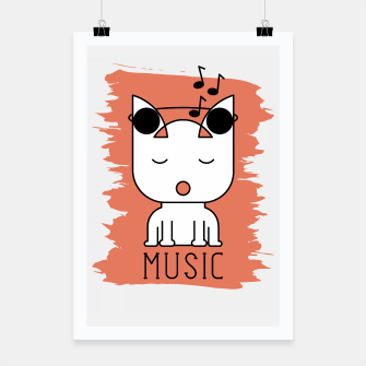 Thumbnail image of Cat Music Mode | Cute White Cat Icon With Headphones Poster, Live Heroes