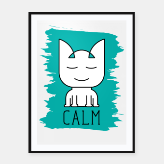 Thumbnail image of Cat Calm Mode | Cute Meditative White Cat Icon Framed poster, Live Heroes