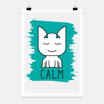 Thumbnail image of Cat Calm Mode | Cute Meditative White Cat Icon Poster, Live Heroes