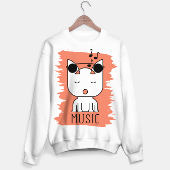 Thumbnail image of Cat Music Mode | Cute White Cat Icon With Headphones Sweater regular, Live Heroes