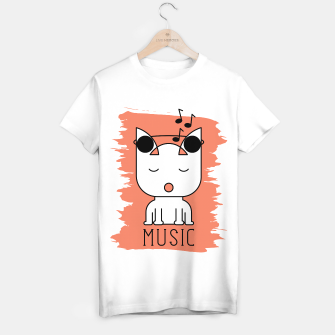 Thumbnail image of Cat Music Mode | Cute White Cat Icon With Headphones T-shirt regular, Live Heroes