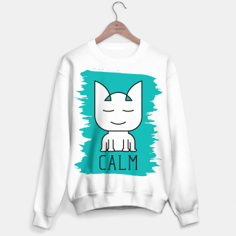 Thumbnail image of Cat Calm Mode | Cute Meditative White Cat Icon Sweater regular, Live Heroes