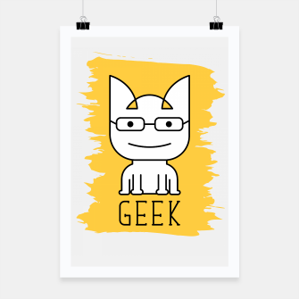 Thumbnail image of Cat Geek Mode | Cute White Cat Icon With Glasses  Poster, Live Heroes