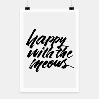 Happy With The Meows | Cats Quote Brush Lettering Poster Bild der Miniatur