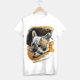Thumbnail image of french bulldog puppy Yulia A Korneva coffee and ink T-shirt regular, Live Heroes