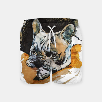 Thumbnail image of french bulldog puppy Yulia A Korneva coffee and ink Swim Shorts, Live Heroes