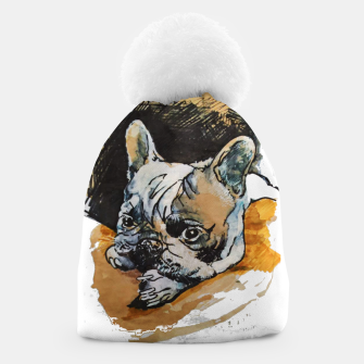 french bulldog puppy Yulia A Korneva coffee and ink Beanie thumbnail image