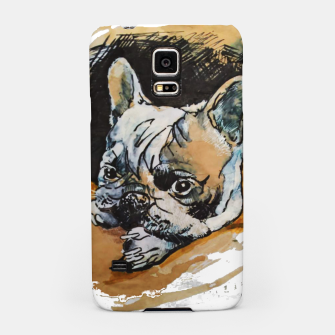 Thumbnail image of french bulldog puppy Yulia A Korneva coffee and ink Samsung Case, Live Heroes