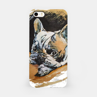 Thumbnail image of french bulldog puppy Yulia A Korneva coffee and ink iPhone Case, Live Heroes